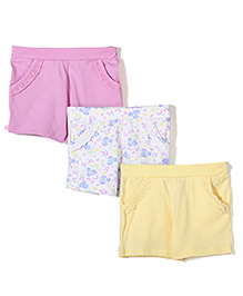Mothercare Shorts Pack Of 3 - White Yellow Pink