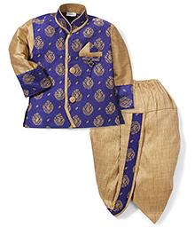 Babyhug Self Embroidered Kurta And Dhoti - Royal Blue & Golden