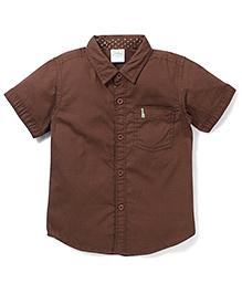 Babyhug Half Sleeves Solid Shirt - Coffee Brown