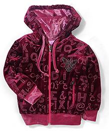 Mickey Alphabet Print Velvet Jacket - Deep Fuchsia