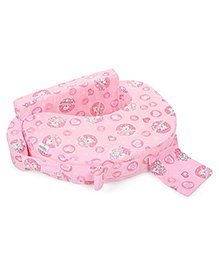 Babyhug Feeding Pillow Teddy & Hearts Print - Pink