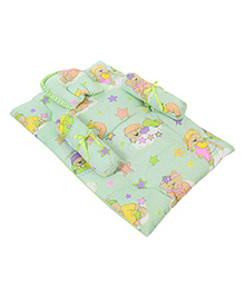Babyhug Baby Bedding Set With Good Night Print - Green
