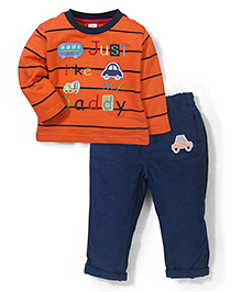 ToffyHouse Just Like My Daddy Embroidered T-Shirt & Pant - Orange & Navy