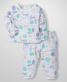 ToffyHouse Full Sleeves Night Suit Kitty Print - White Blue