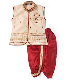 Babyhug Sleeveless Embroidered Kurta And Dhoti - Cream Maroon