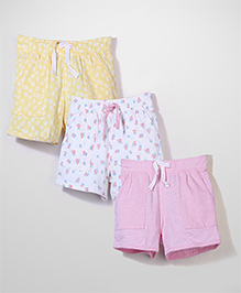 Mothercare Pack Of 3 Shorts - Cream Pink Yellow
