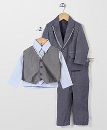 Babyhug Party Wear 4 Piece Coat Set With Tie And Brooch - Grey