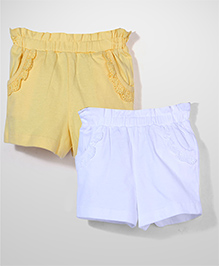 Mothercare Shorts Lace Trim Detail Pack Of 2 - Yellow & White