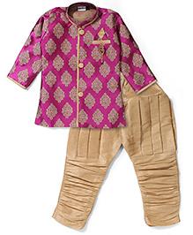 Babyhug Full Sleeves Kurta And Jodhpuri Breeches - Deep Pink & Golden