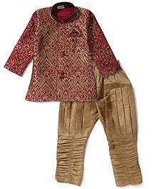 Babyhug Self Embroidered Kurta & Jodhpuri Breeches Set - Maroon & Golden