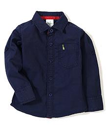 Babyhug Full Sleeves Solid Shirt - Dark Navy