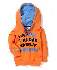 Babyhug Hooded Sweat Jacket With Two Pockets - Orange