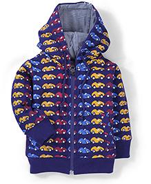 Babyhug Hooded Sweatshirt Car Print - Purple