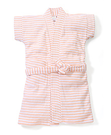 Babyhug Half Sleeves Striped Bathrobe - Peach