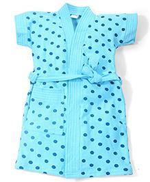 Babyhug Half Sleeves Dot Printed Bathrobe - Blue