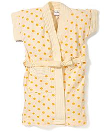 Babyhug Half Sleeves Dot Printed Bathrobe - Light Yellow