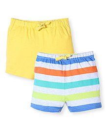 Mothercare Striped And Solid Color Shorts Pack Of 2 - Yellow & Multicolor