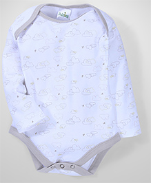Babyhug Cloud Printed Envelope Neck Oneises - White