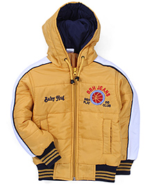 Babyhug Full Sleeves Hooded Jacket Logo Embroidery - Yellow