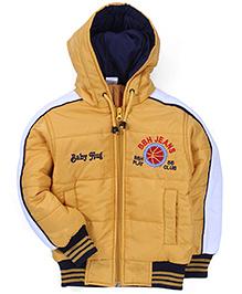 Babyhug Full Sleeves Hooded Jacket Logo Embroidery - Yellow