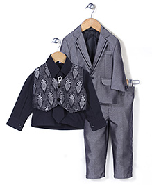 Babyhug Party Wear 4 Piece Coat Set With Tie And Brooch - Grey And Black