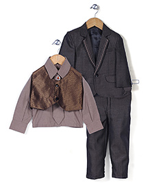 Babyhug Party Wear 4 Piece Coat Set With Tie And Brooch - Black And Bronze