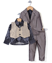 Babyhug Party Wear 4 Piece Coat Set With Tie And Brooch - Brown And Black