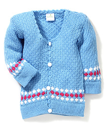 Babyhug Front Open Knitted Sweater - Sky Blue