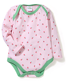 Babyhug Long Sleeves Onesies Strawberry Print - Pink