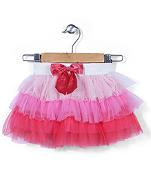 Babyhug Layered Skirt With Bow Applique - Multi Color