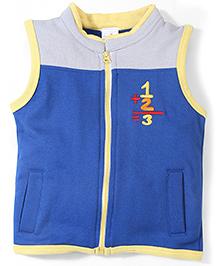Babyhug Sleeveless Zippered Sweat Jacket - Royal Blue