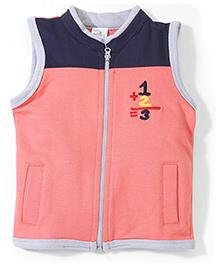 Babyhug Sleeveless Zippered Sweat Jacket - Coral