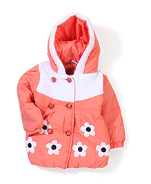Babyhug Floral Patched Hooded Jacket - Peach