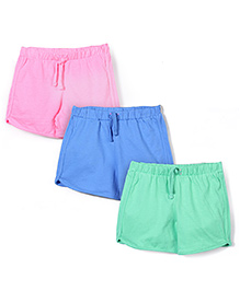 Mothercare Drawstring Shorts Pack Of 3 - Pink Blue Green