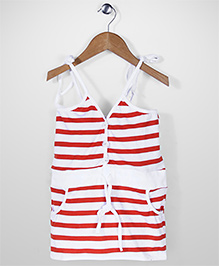 The Kidshop Stripe Dress - Orange & White