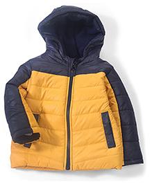 Babyhug Full Sleeves Hooded Jacket - Navy Yellow