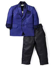 Babyhug 4 Piece Party Suit - Royal Blue Black
