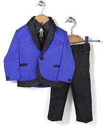 Babyhug 4 Piece Party Suit - Royal Blue Black