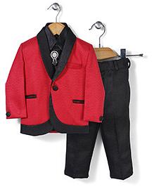 Babyhug 4 Piece Party Suit - Red Black