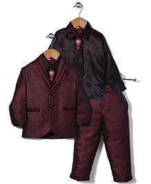 Babyhug Party Wear 3 Pieces Coat Suit Set - Maroon And Black