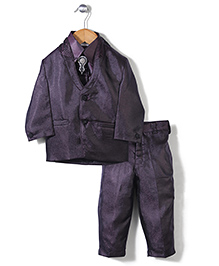 Babyhug Party Suit With Brooch Studded Tie - Dark Purple