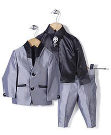 Babyhug Party Suit With Brooch Studded Tie - Grey