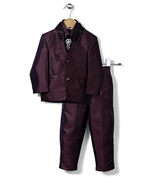 Babyhug Party Suit With Brooch Studded Tie - Maroon