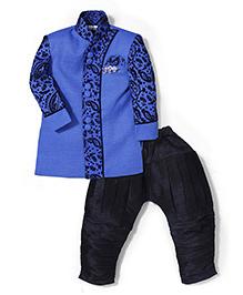 Babyhug Full Sleeves Kurta And Jodhpuri Breeches - Blue Black