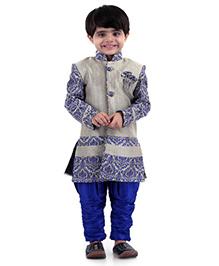 Babyhug Self Design Kurta And Jodhpuri Breeches - Grey Royal Blue