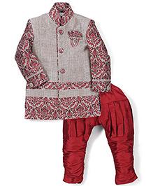 Babyhug Self Design Kurta And Jodhpuri Breeches - Grey and Maroon