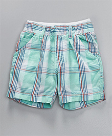 Mothercare Chino Shorts Checks Print - Aqua Blue