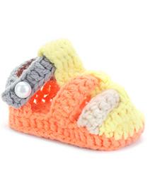 Cute Walk Sandal Style Booties - Yellow Orange Grey