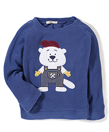 Fox Baby Full Sleeves Sweat Shirt Bear Design - Blue
