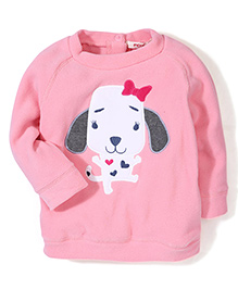 Fox Baby Full Sleeves Sweat Shirt Puppy Embroidery - Pink
